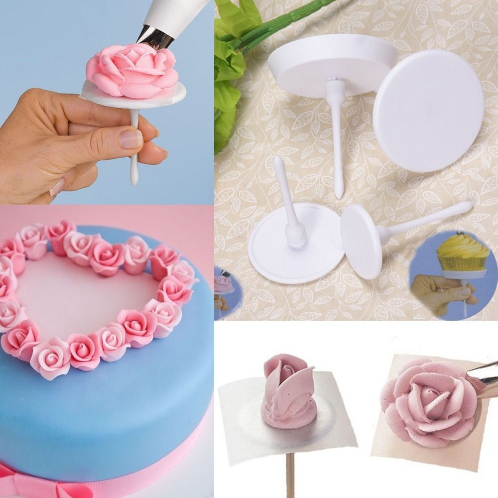 Lily Nail Cake Decorating : 4Pcs Cake Flower Nail Handle Cupcake Icing Cream ...