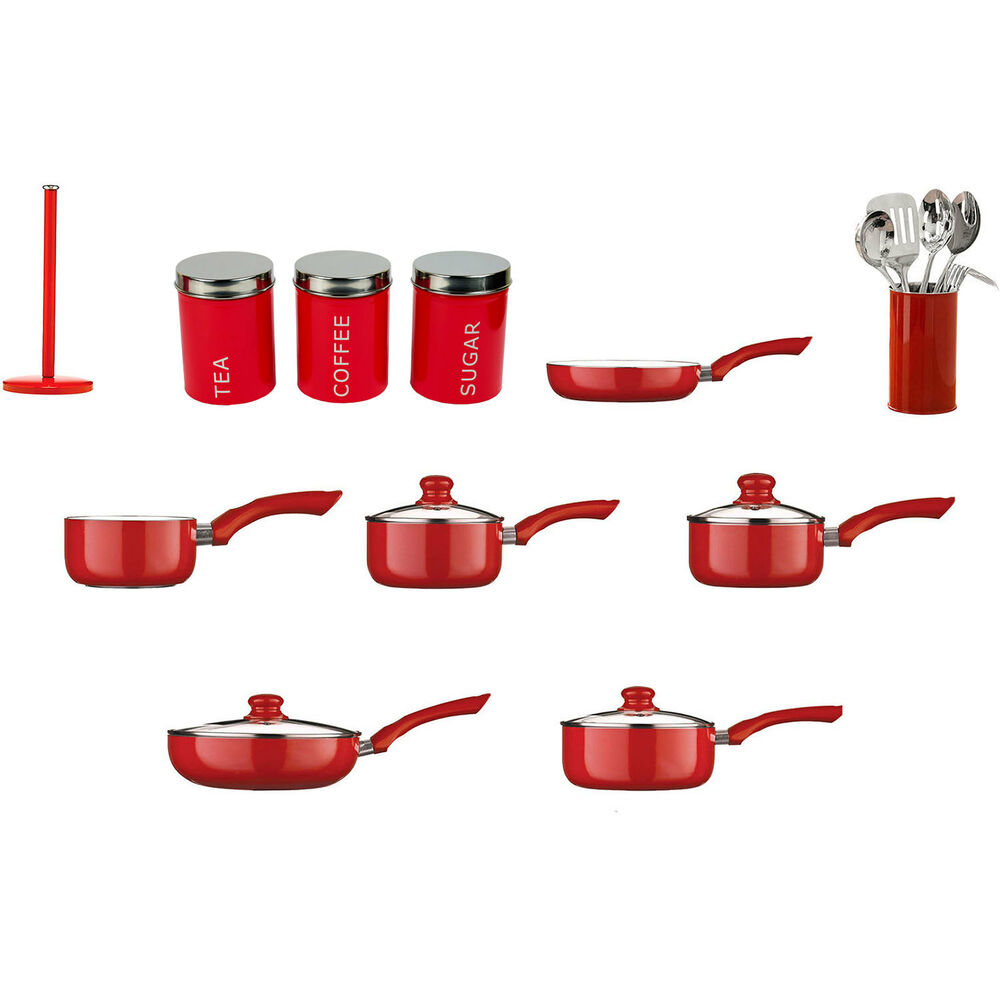 Red kitchen cookware roll holder frying pan saucepan for Kitchen set red