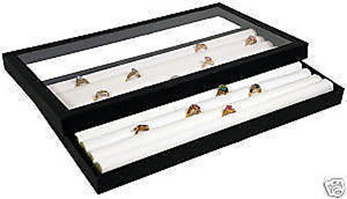 Ring tray acrylic lid jewelry display case white insert ebay for Jewelry tray with lid