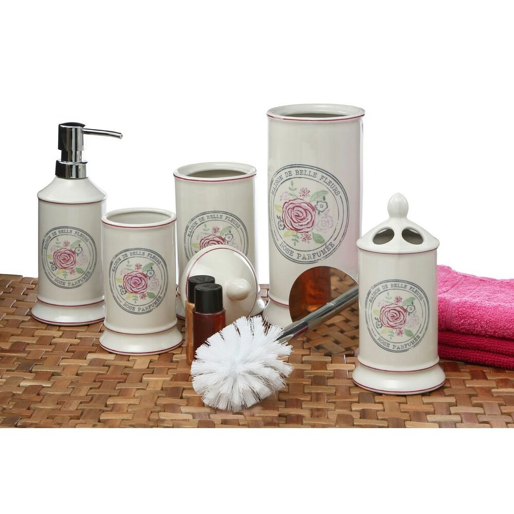 Belle cream shabby chic ceramic bathroom accessories bath for Cream bathroom accessories set