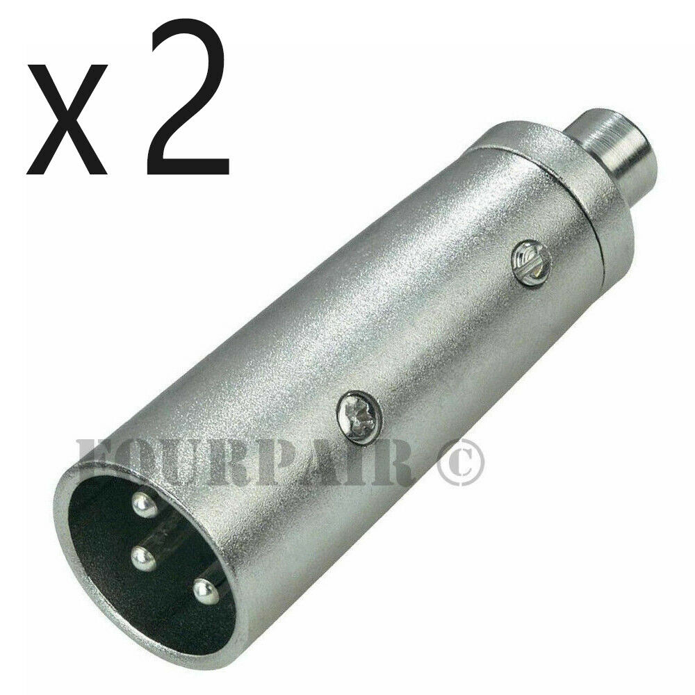 2 Pack 3 Pin Xlr Male To Rca Female Jack Audio Cable