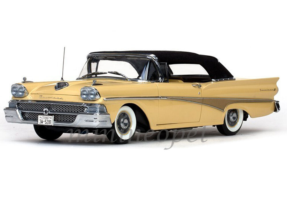 Details About Sun Star 5281 1958 58 Ford Fairlane 500 Closed Convertible 1 18 Gold Black