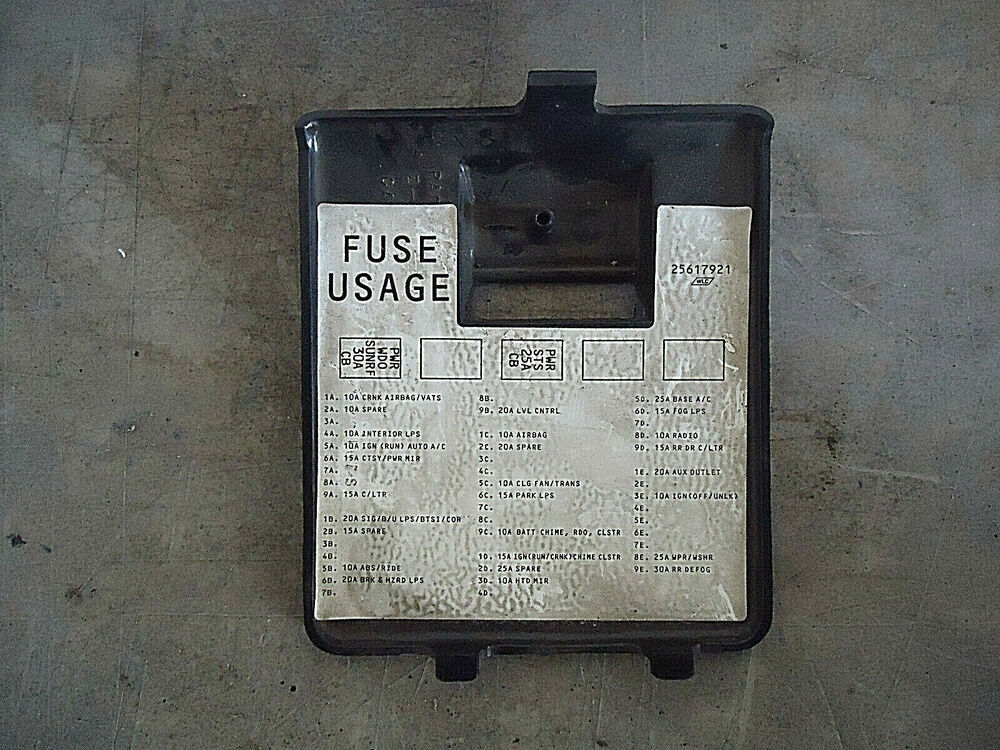 Interior Black Fuse Cover 92 93 94 95 96 97 98 99 Oldsmobile