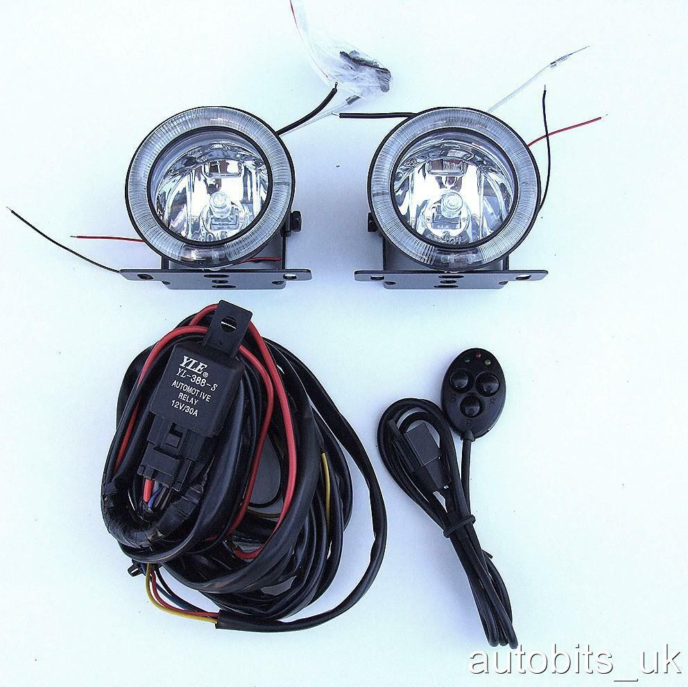 universal 12v angel eye led drl fog spot day lights wiring. Black Bedroom Furniture Sets. Home Design Ideas