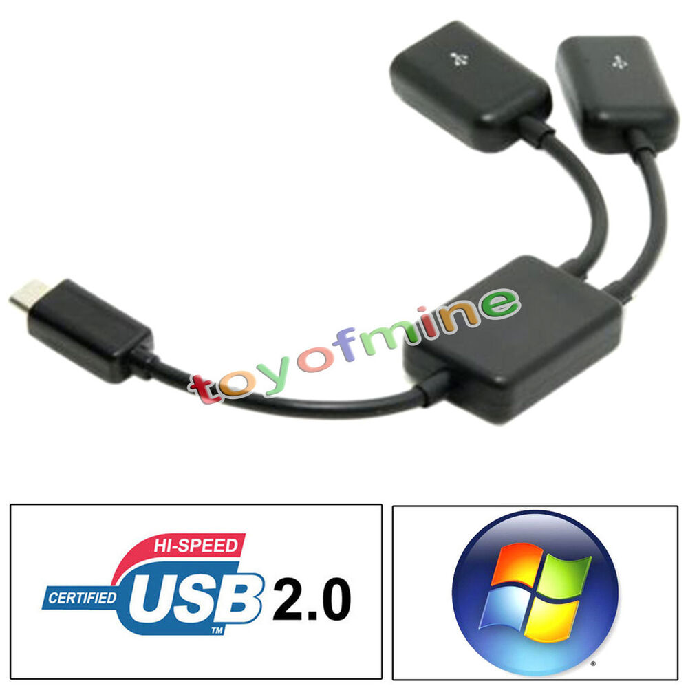 Micro b 2 port otg host usb hub y splitter adapter cable for android pc tablet ebay - Usb hub with micro usb port ...