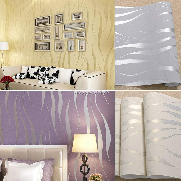 New bedroom 3d flocking waves non woven embossed textured for Home wallpaper ebay