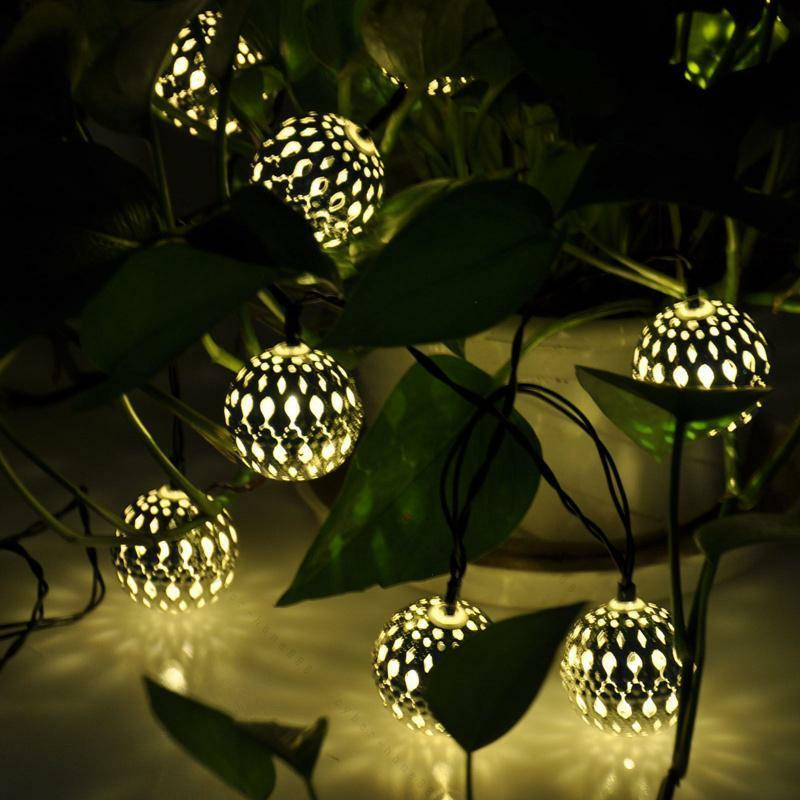 Solar Power LED String Fairy Moroccan Ball Lights #C Garden Tree Christmas Decor eBay