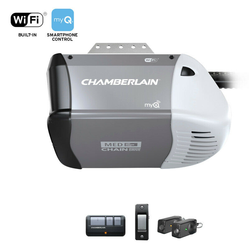 New chamberlain pd220 1 2 hp garage door opener set with for 1 2 garage door opener
