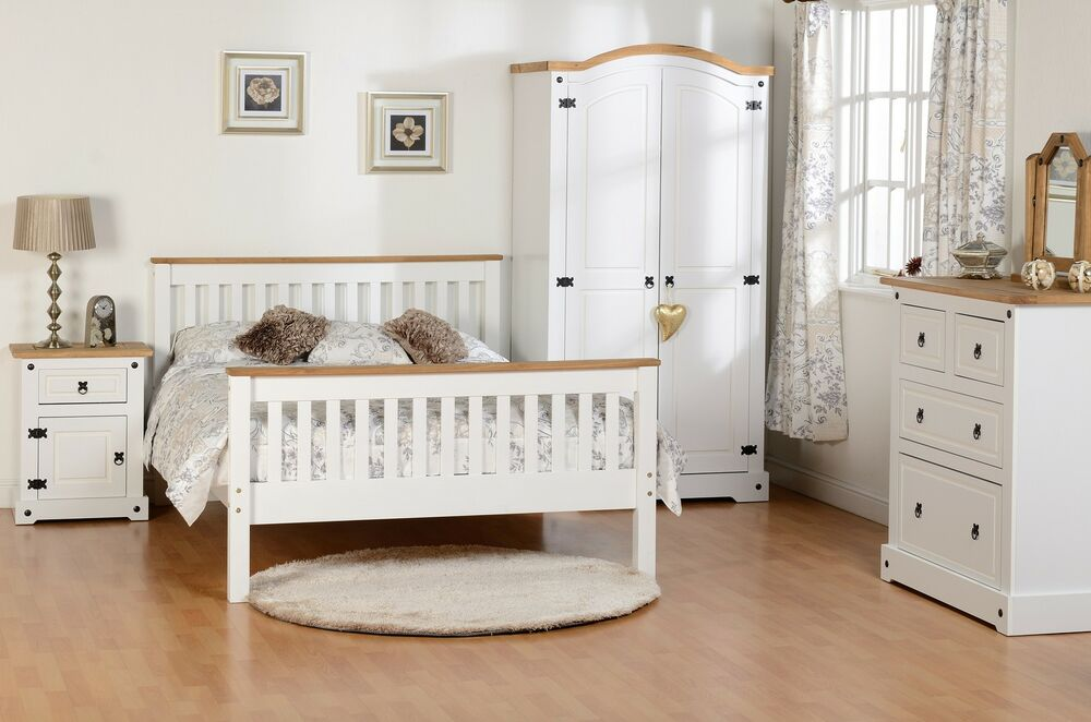 Seconique white corona farm house bedroom furniture white waxed pine ebay for Quality white bedroom furniture