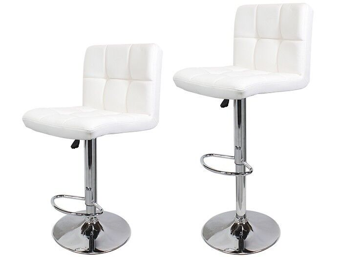 2 swivel white pu leather modern adjustable hydraulic bar