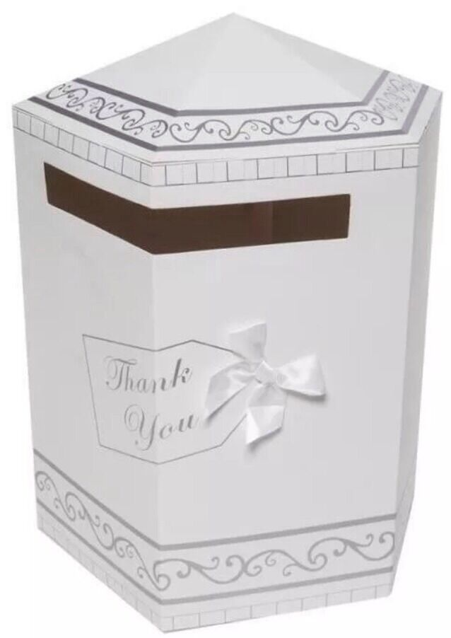 Wedding Reception Gift Card Post Box : Wedding Gifts Thank You Card Post Box Mailbox White & Silver New UK ...