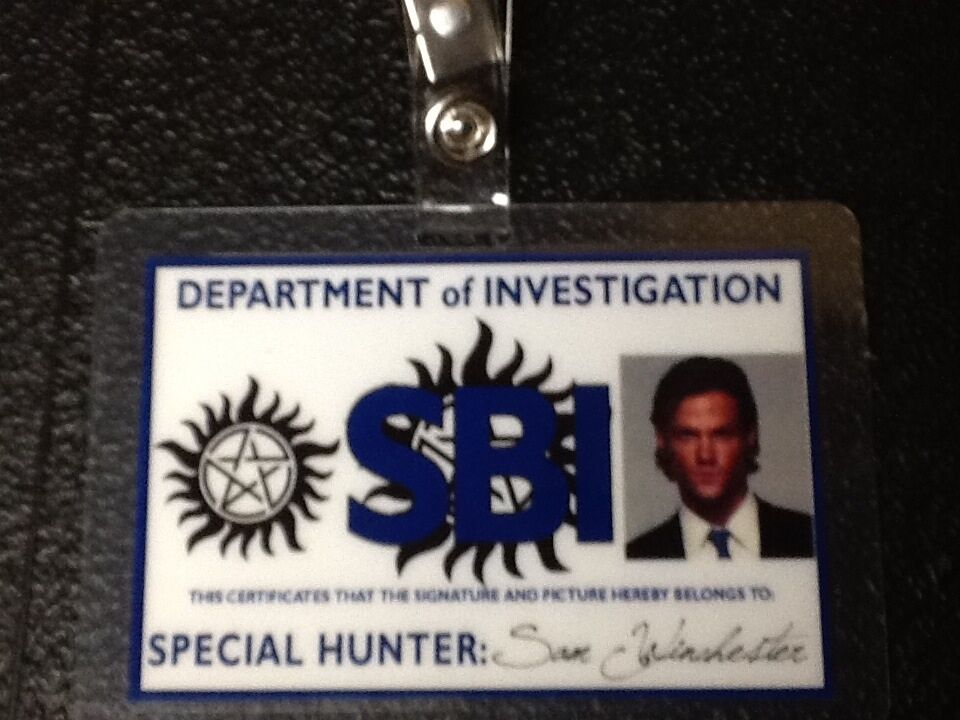Supernatural ID Badge-Sam Winchester prop costume cosplay ...