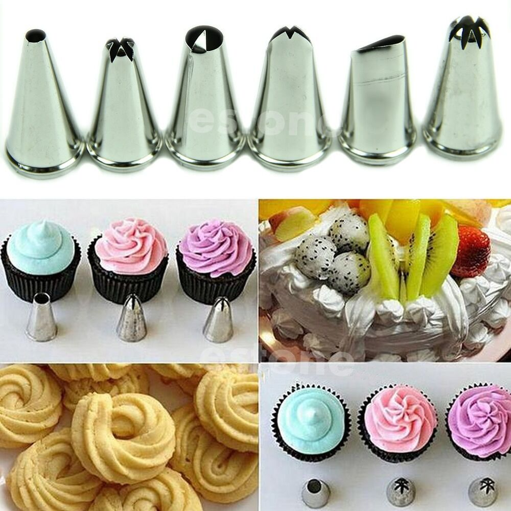 New 6 pcs Icing Piping Nozzle Cake Decorating Sugarcraft ...