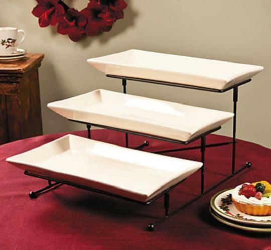 3 Tiered Step Style Serving Dish Platter Metal Display W