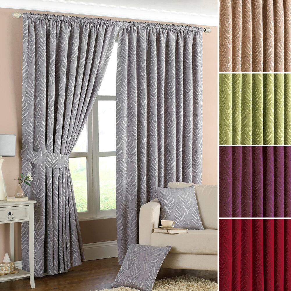 Riva Home Willow Lined Ready Made Pencil Pleat Curtains With Tiebacks Ebay