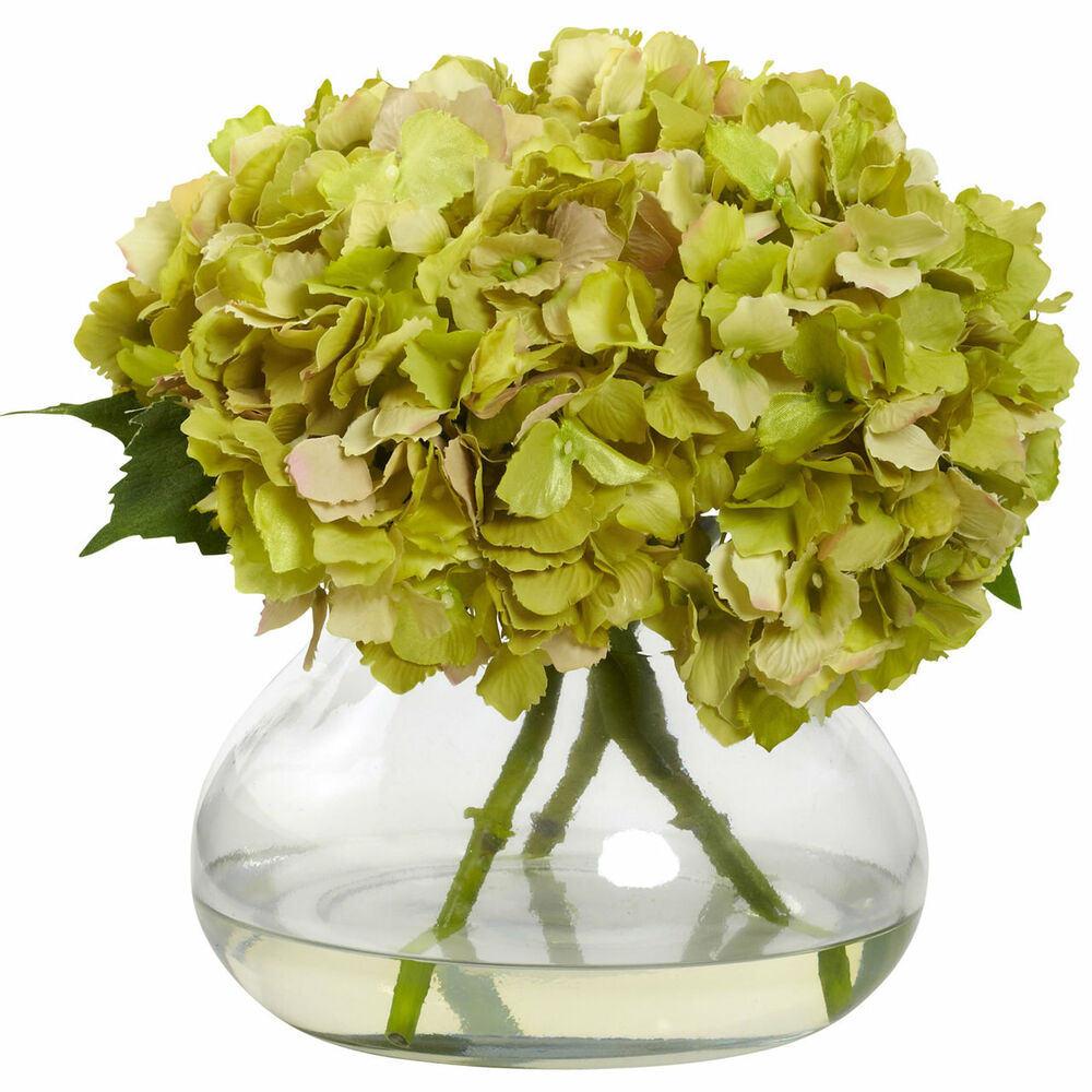 large green blooming silk hydrangea artificial floral. Black Bedroom Furniture Sets. Home Design Ideas
