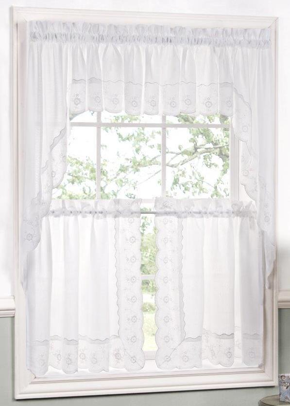 Candlewick scalloped floral embroidered curtain and swag