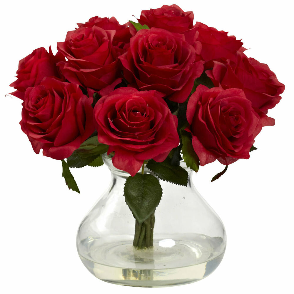 Quot artificial red silk rose floral flower bouquet