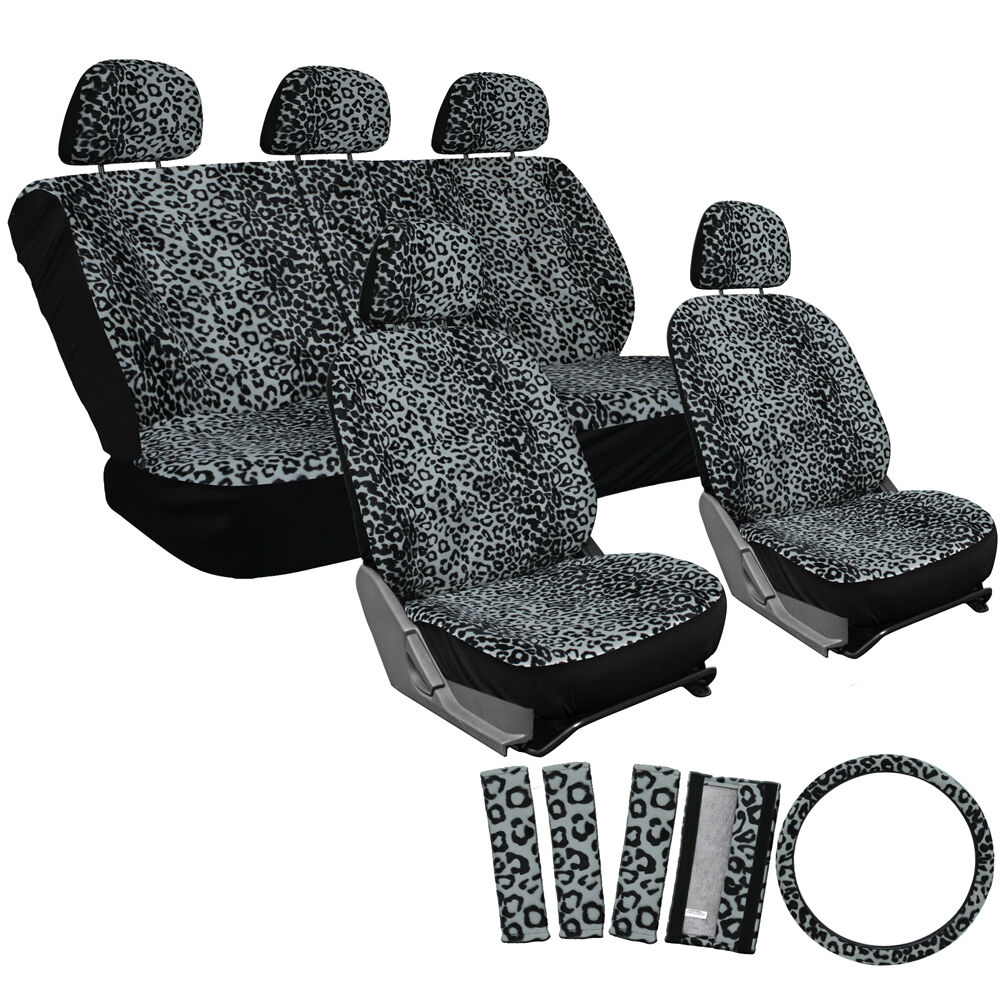 Grey Leopard Car Seat Covers