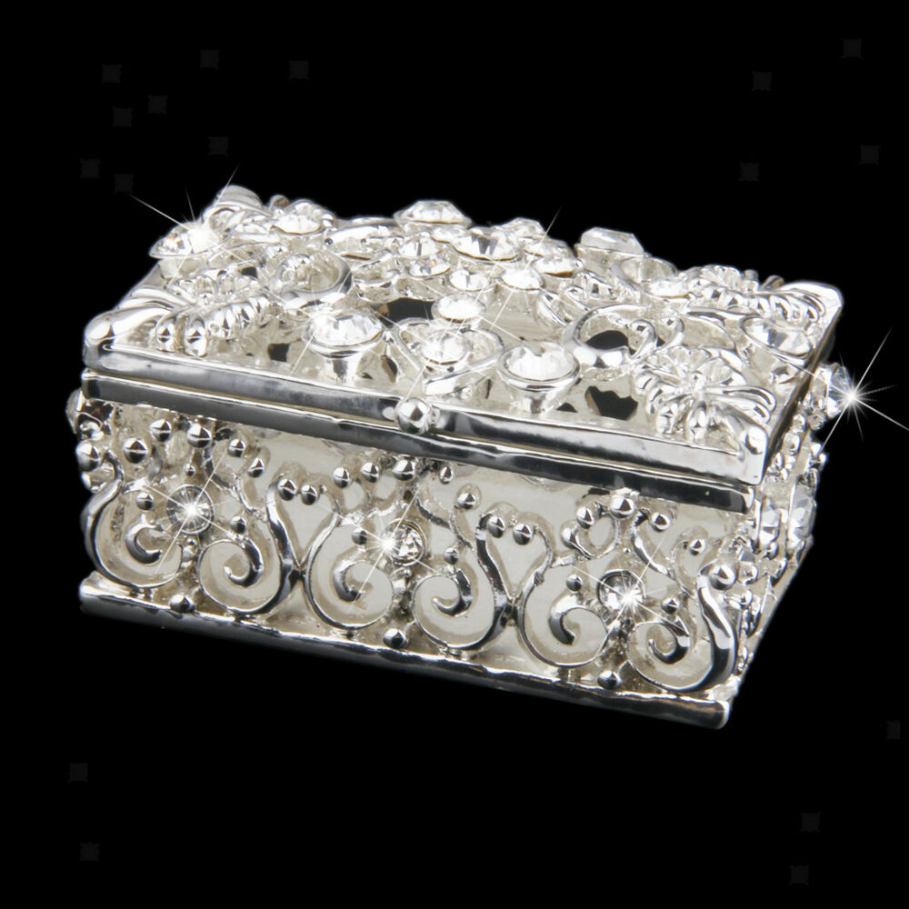 silver plated diamante crystal enamel jewelry trinket box. Black Bedroom Furniture Sets. Home Design Ideas