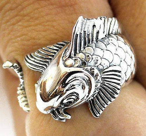 Japanese koi carp lucky fish sterling 925 silver japan for Koi fish ring