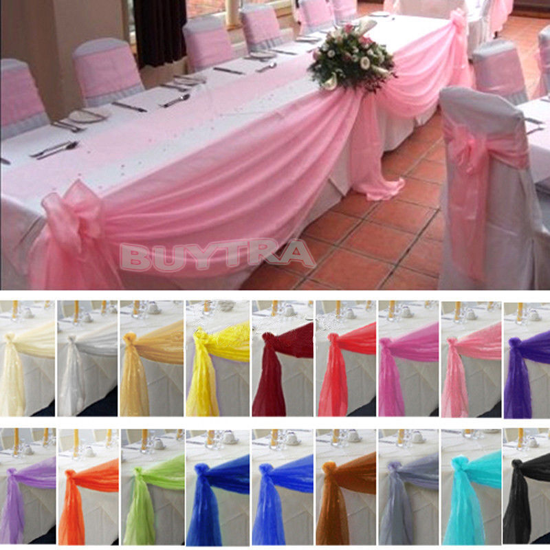 table swags sheer organza fabric diy wedding party bow decorations cool ebay. Black Bedroom Furniture Sets. Home Design Ideas