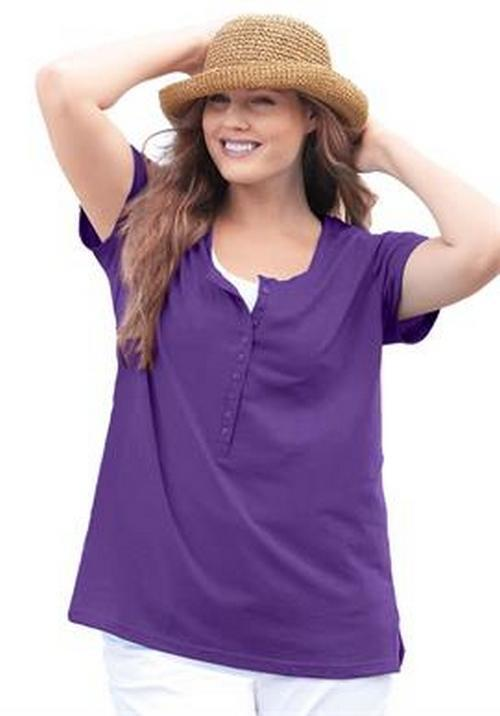 Women 39 s plus size henley t shirt in purple short sleeves for Women s cotton henley shirts