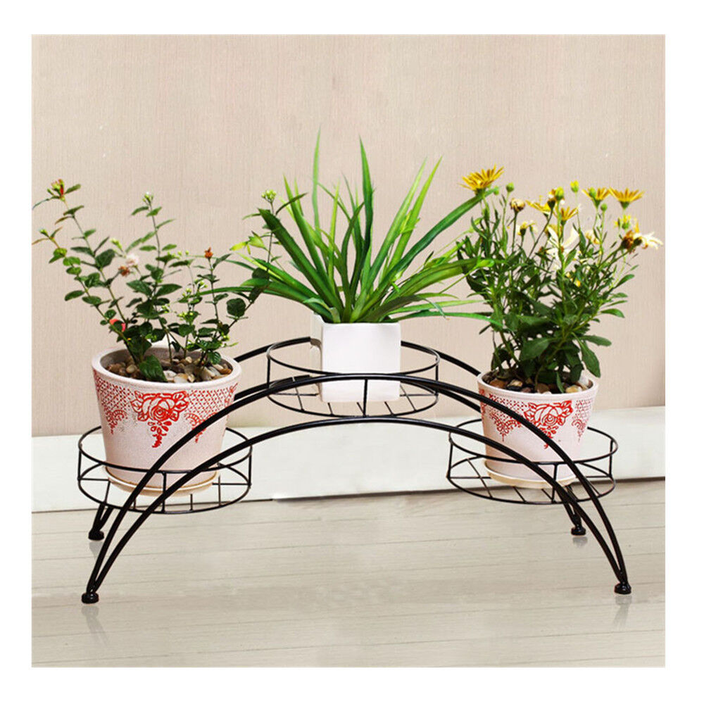 Arch Design Flower Pot Plant Stand Wrought Iron Garden Indoor Maple Leaf Black Ebay