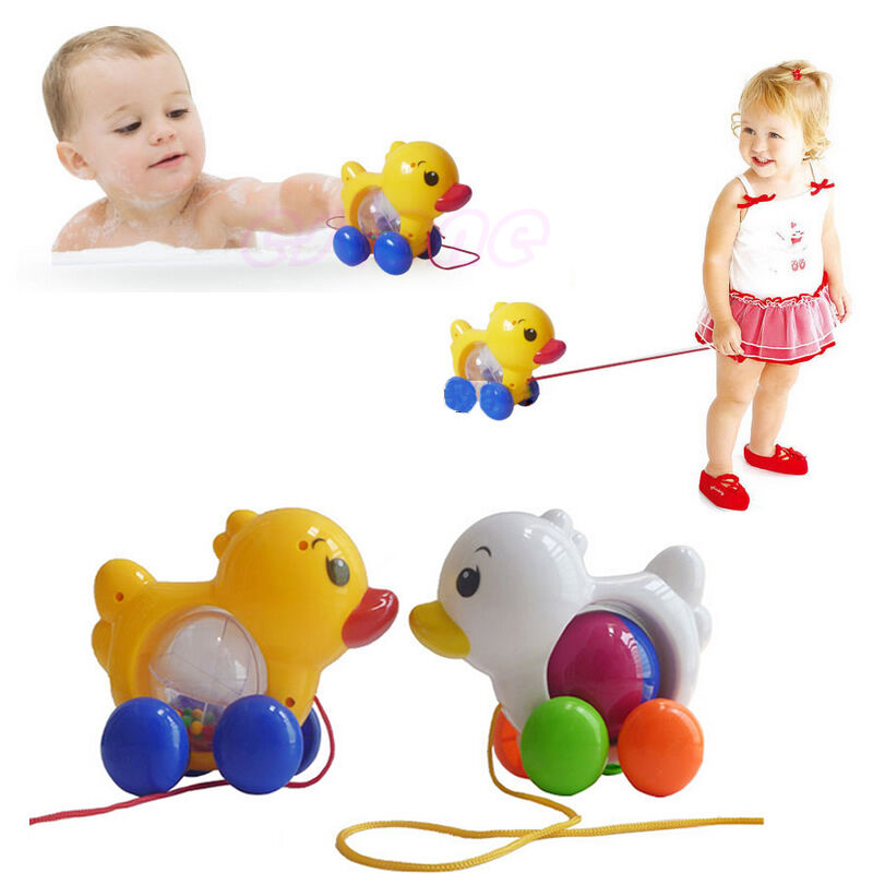new classic pull along duck plastic toddler kids baby learn walk toy fun ebay. Black Bedroom Furniture Sets. Home Design Ideas