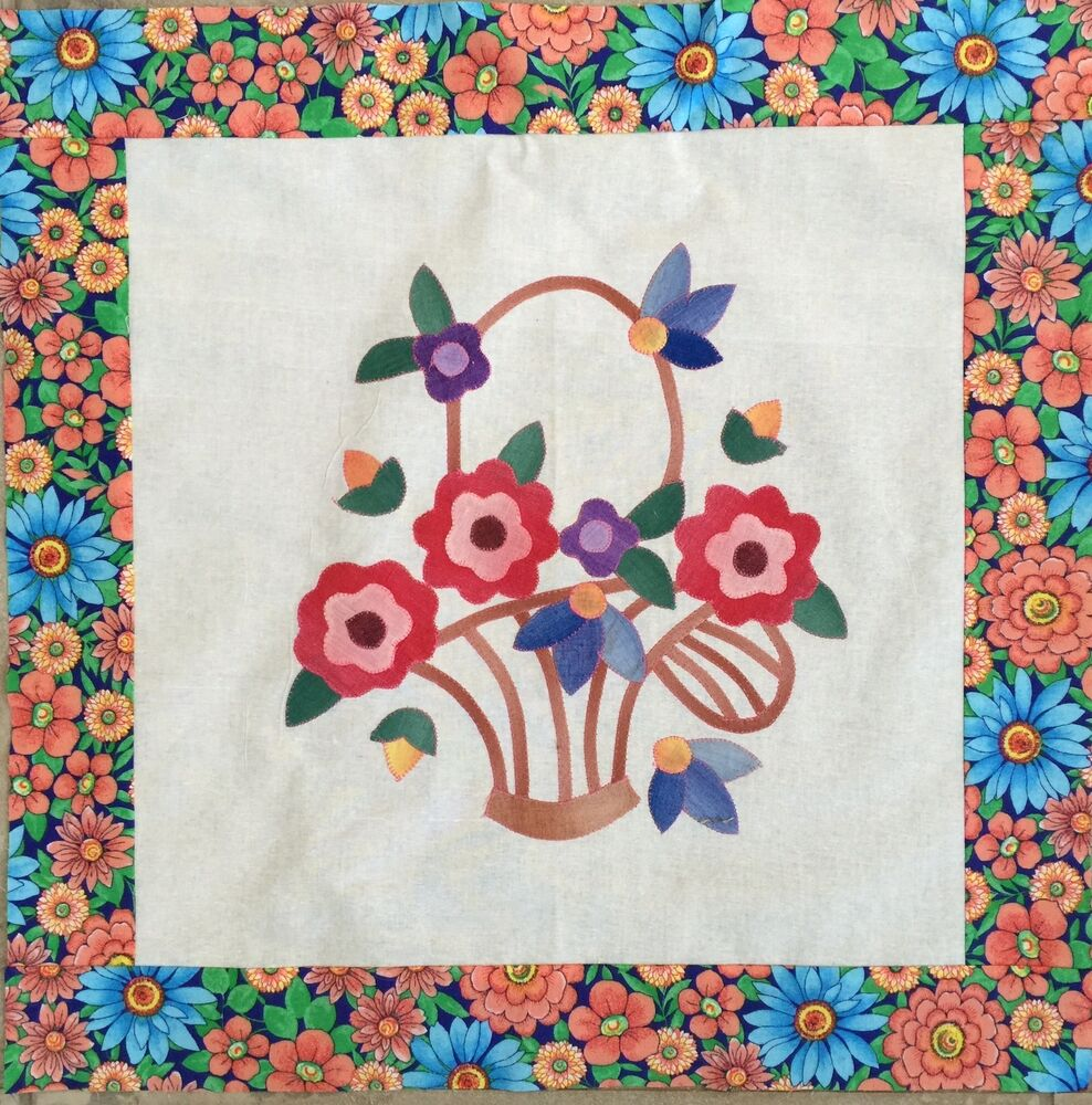 Mini Quilt Top Wall Hanging Floral Design 1417a Ebay