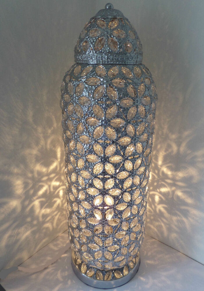 Chrome Floor Lamp Stunning Moroccan Style Jeweled Cut Work
