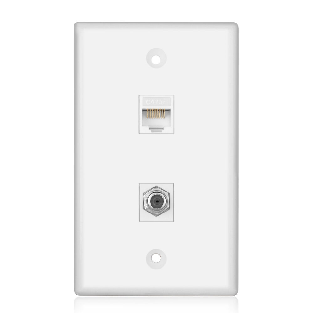 ethernet wall plate coaxial connector ethernet network wall plate coax rj45 jack socket outlet panel