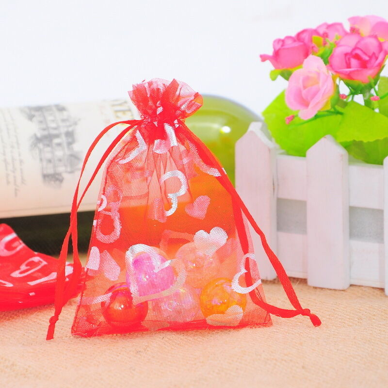 ... lot 9x12cm Red Heart Organza Gift Bags Wedding/Christmas Favor eBay