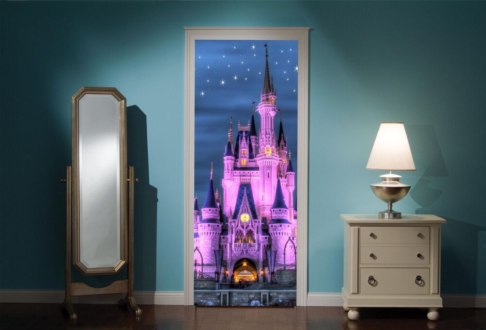 Door mural fairy princess castle view wall stickers decal for Fairy castle wall mural