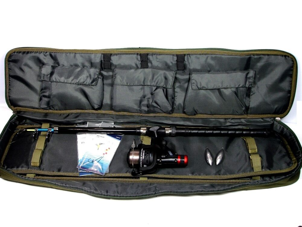 Travel boat fishing kit rod reel rigs weights deluxe bag for Rigged fishing backpack