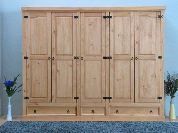 5trg kiefer mexico kleiderschrank new mexiko massiv schlafzimmer schrank natur ebay. Black Bedroom Furniture Sets. Home Design Ideas