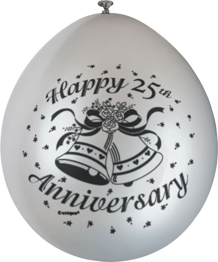 10 X Happy 25th Anniversary Balloons Silver Wedding Party Decorations FREE PampP