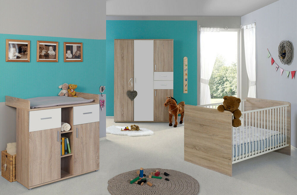 babyzimmer kinderzimmer komplett set babym bel komplettset umbaubar elisa 3 ebay. Black Bedroom Furniture Sets. Home Design Ideas