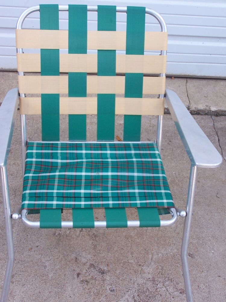 D VINTAGE LAWN DECK CAMPING CHAIR WEB ALUMINUM FOLDING WEBBED patio RETRO