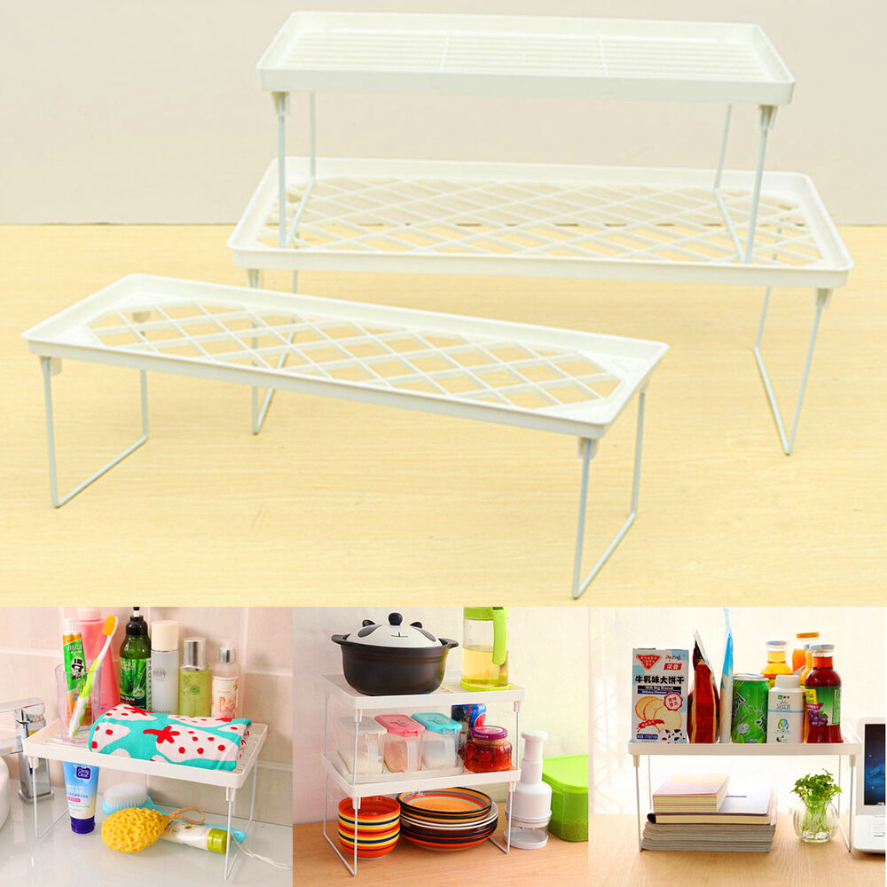 Kitchen Shelf Organiser: Foldable Racks Home Bathroom Kitchen Storage Shelving