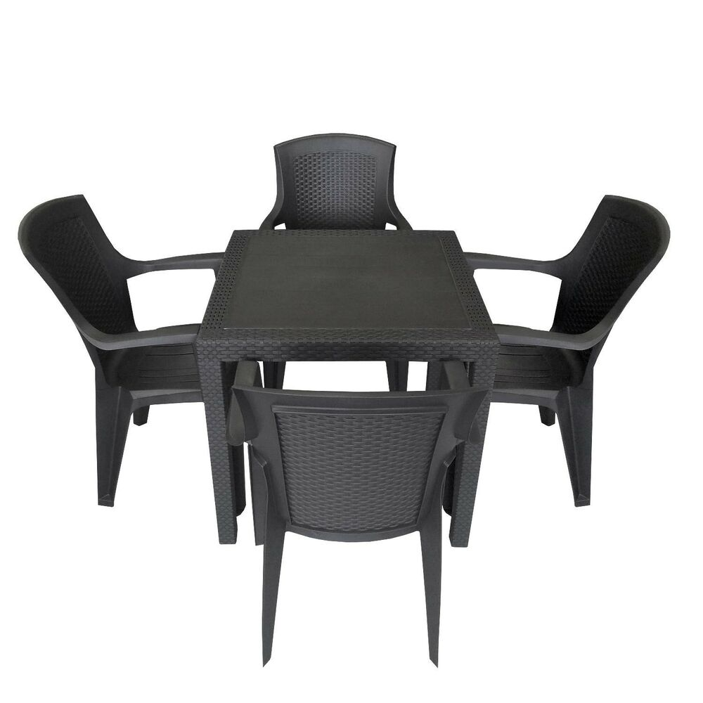 5tlg gartengarnitur balkonm bel stapelstuhl terrassenm bel set 79cm rattan look ebay. Black Bedroom Furniture Sets. Home Design Ideas
