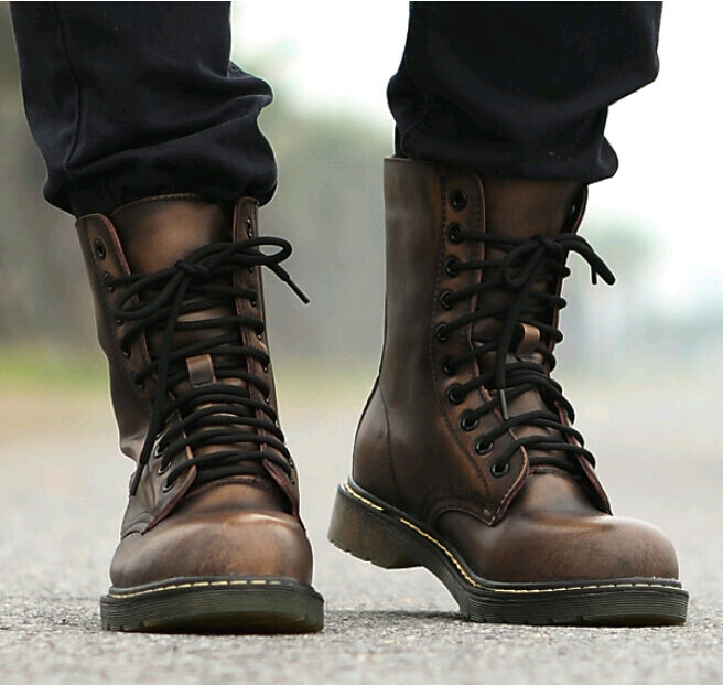 Retro Punk Mens Combat Military Rock Motorcycle Ankle