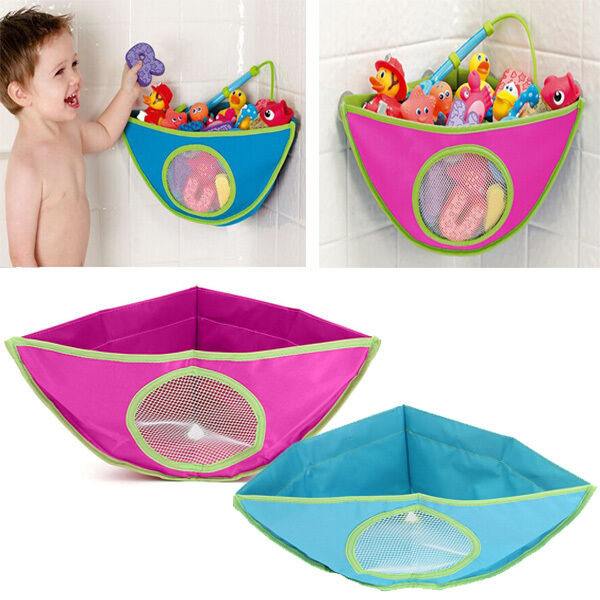 waterproof kids baby bath tub toy hanging storage triangle. Black Bedroom Furniture Sets. Home Design Ideas