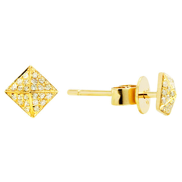 pyramid studs earrings small 14k yellow gold pave pyramid spike square 1859