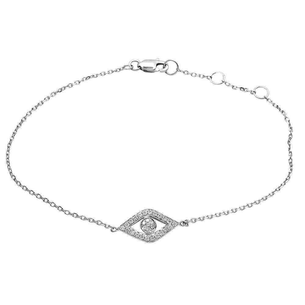 White Gold Chain Bracelet: DAINTY 14K WHITE GOLD PAVE DIAMOND EVIL EYE CHAIN BRACELET