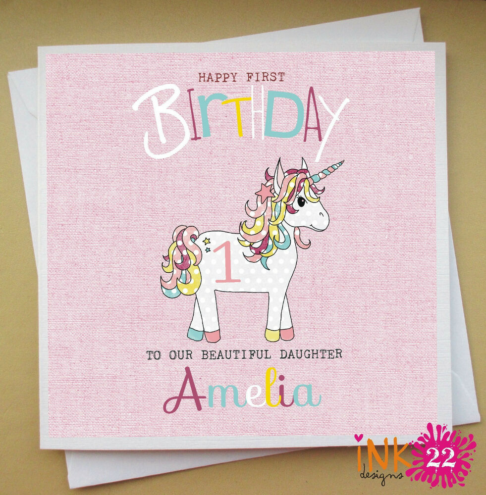 Personalised Pink Girls Birthday Card 1st 2nd 3rd 4th 5th