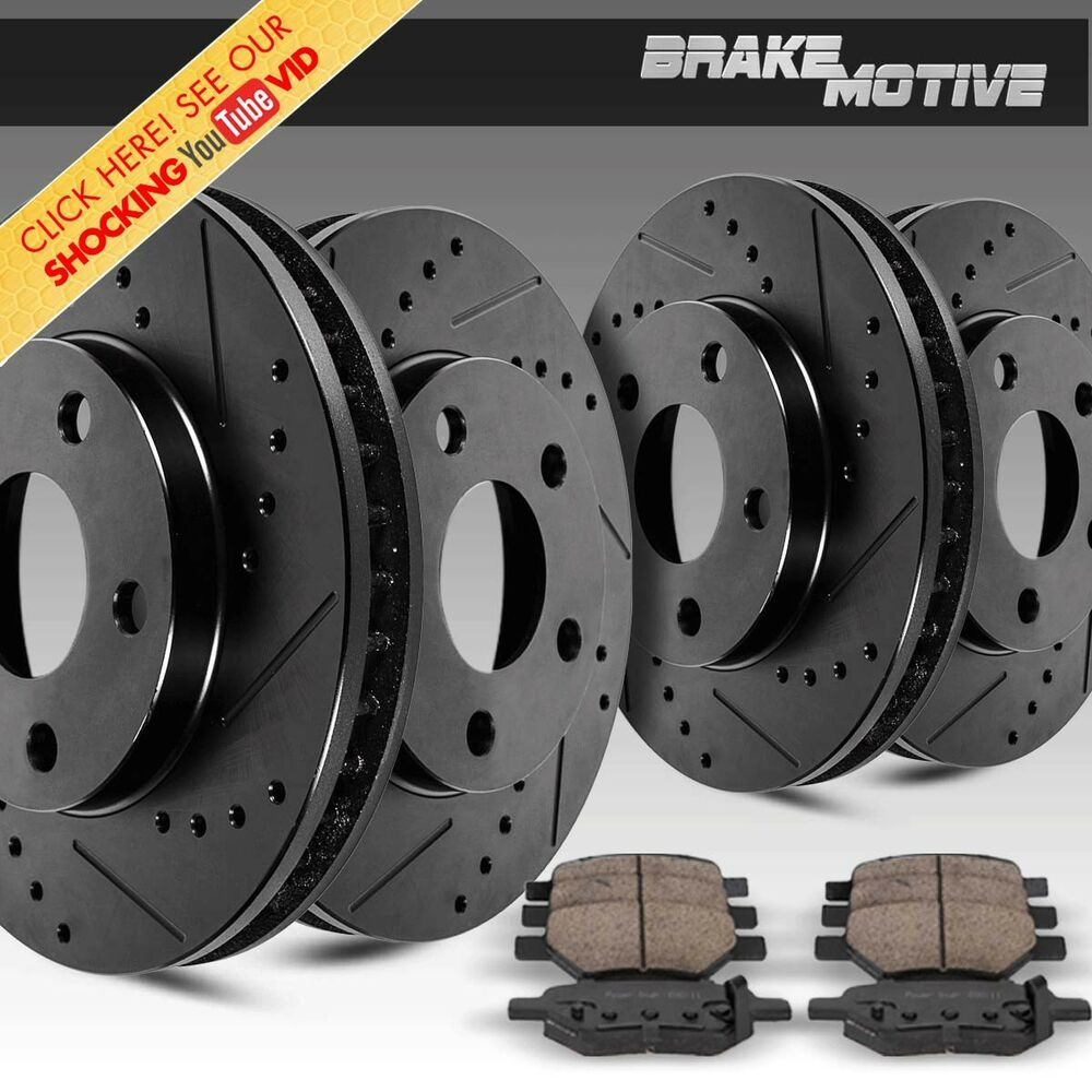 Front Rear Black Drill And Slot Brake Rotors Amp Ceramic