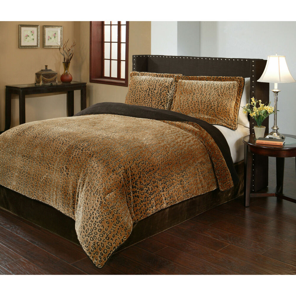 Cheetah Velvet Plush Print 3 Piece Comforter Set Ebay