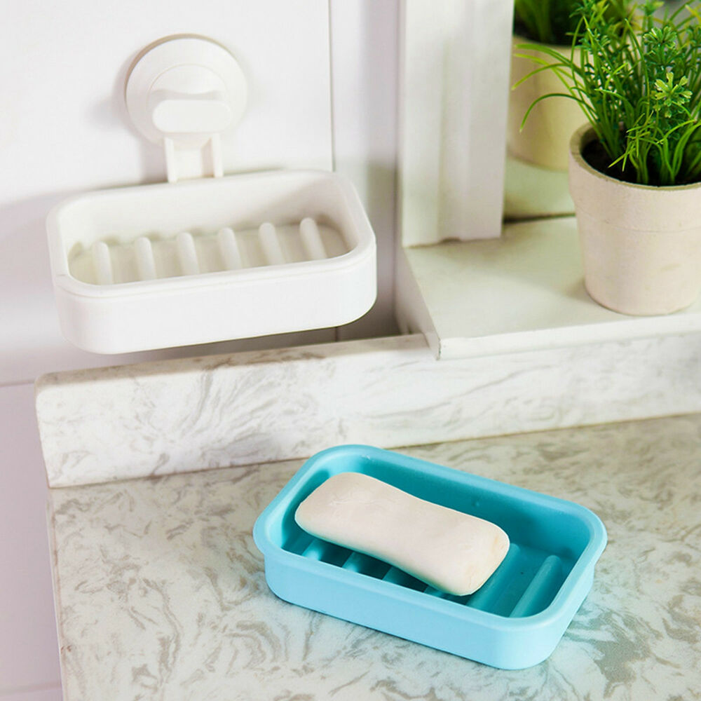 new plastic strong suction soap dishes holder bathroom toilet wall shower tray ebay