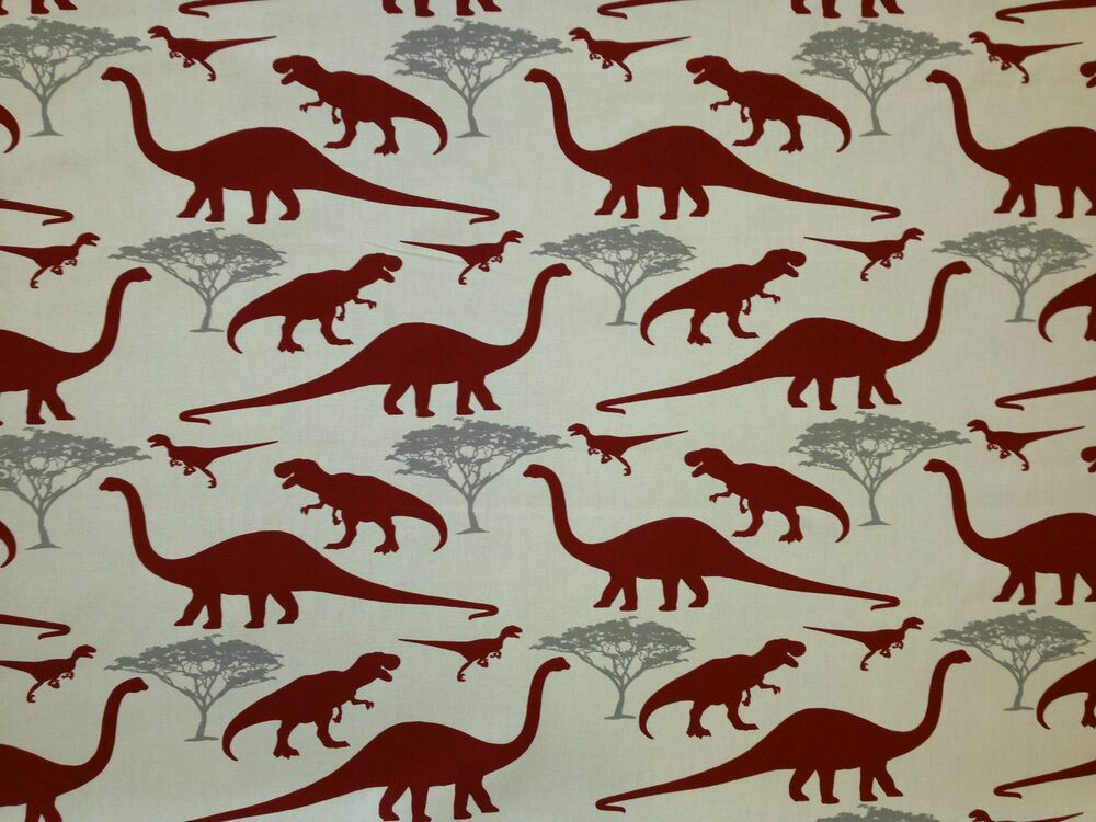 Marsons dinosaurs red grey print cotton boys curtain soft for Grey dinosaur fabric